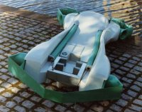 Manta with foils folded up and engines removed.