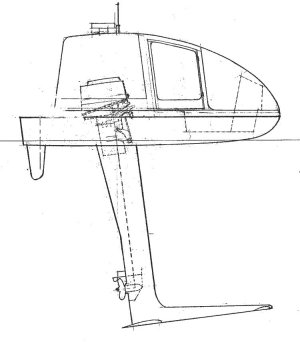 Drawing of One-Person Hydrofoil Motorboat